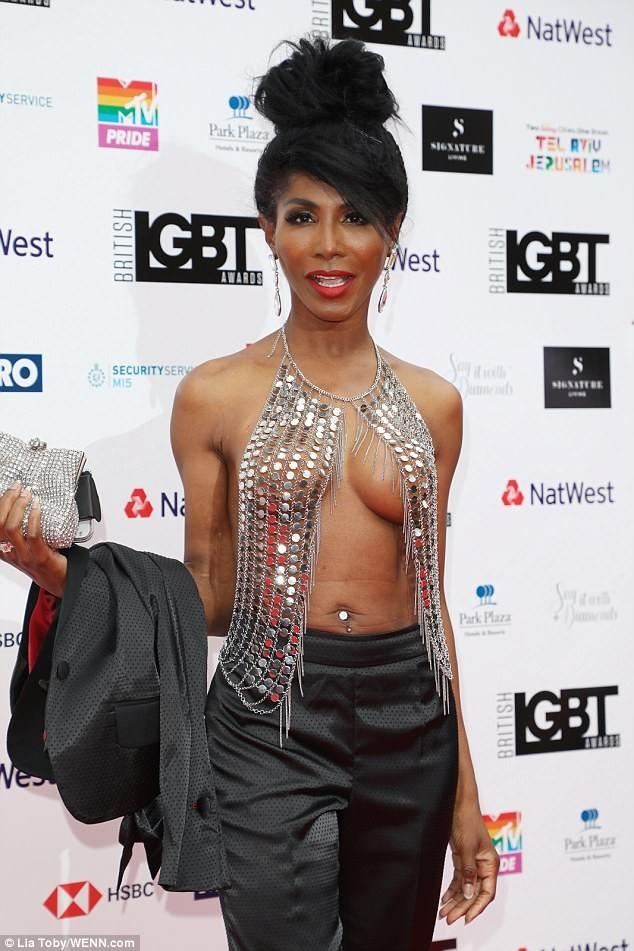 Singer Sinitta, 54, goes braless in very daring see-through top to LGBT Awards (Photos)