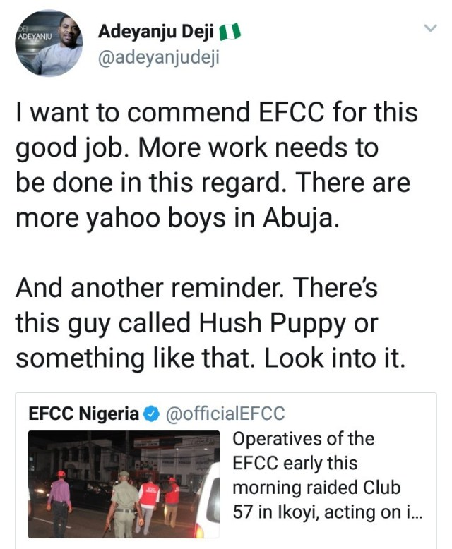 Deji Adeyanju tells EFCC to investigate HushPuppi while reacting to the arrest of alleged Yahoo boys