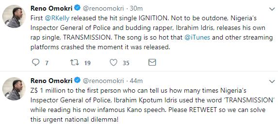 Lol! Reno Omokri mocks IGP Ibrahim Idris over his embarrassing trending video