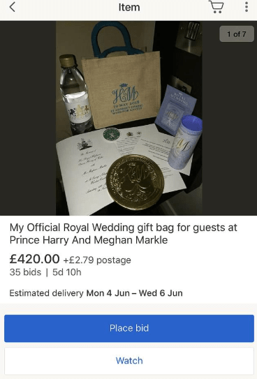 Royal wedding guests caught trying to sell their royal wedding gift bag on eBay for ?400 just hours after Prince Harry and Meghan Markle
