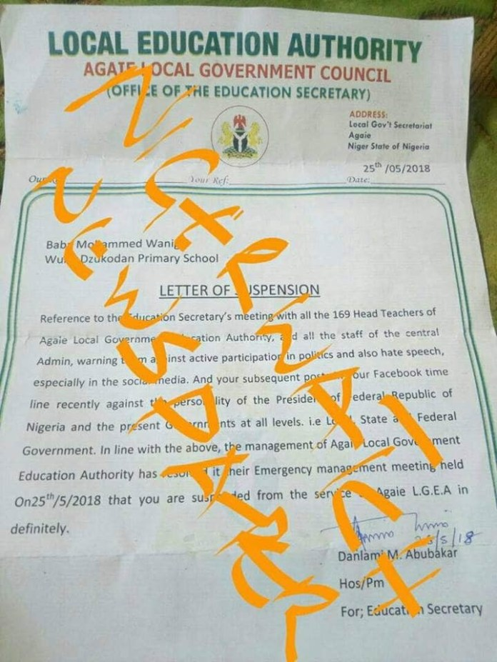 Niger state primary school teacher suspended indefinitely over his Facebook post against President Buhari and Niger state government(photos)