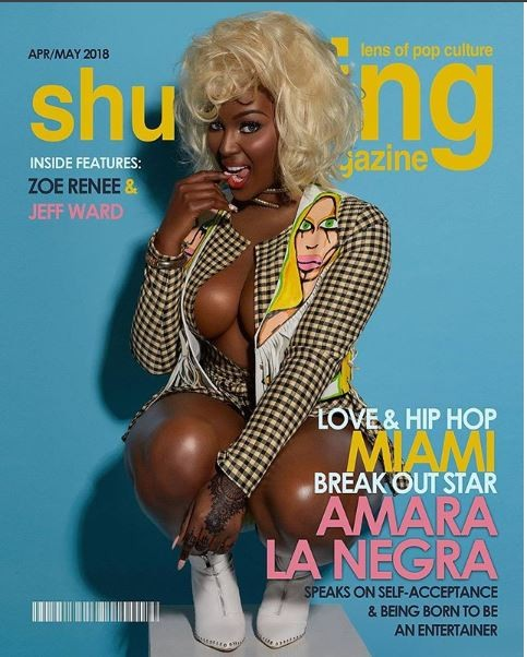 Reality star Amara La Negra flashes her massive cleavage as she poses in her underwear for racy magazine cover (Photos)