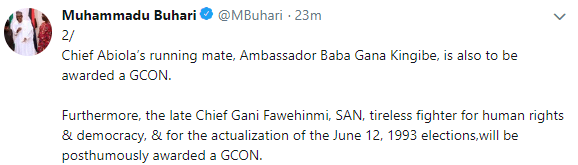 Breaking: President Buhari officially changes Democracy Day to June 12 in honour of MKO Abiola, confers GCFR on Abiola!