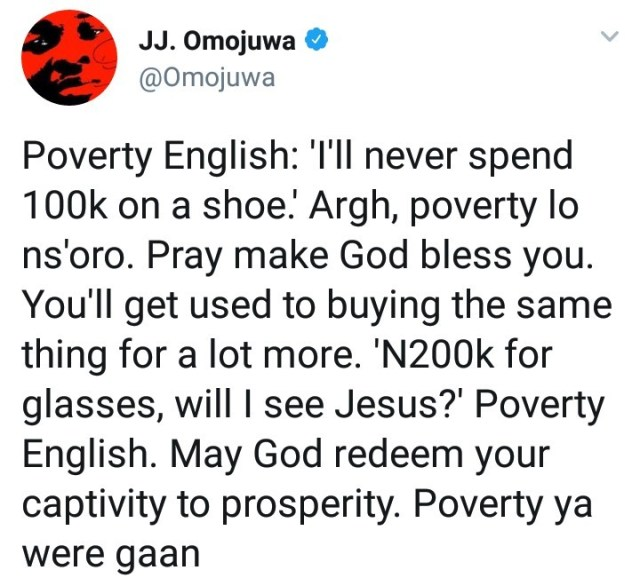 Omojuwa implies that people who frown on heavy spending are suffering from