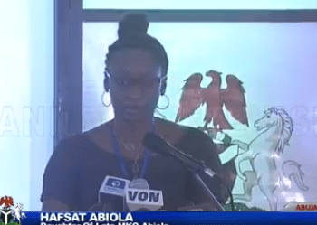 Video: Hafsat Abiola apologises to President Buhari for any hurt her father might have caused him