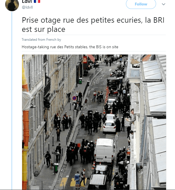 """Paris street on lockdown after """"armed man takes two hostages, including pregnant woman"""""""