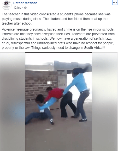 Horrific moment students beat up teacher because she seized the phone of one of the students who was playing music during class (video)
