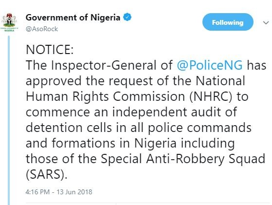 Police IG approves?request by?the National Human Rights Commission to commence an independent audit of detention cells in all police commands