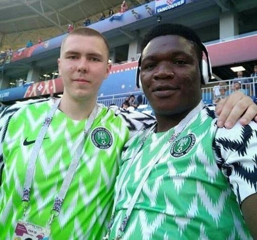 Who can spot the original Super Eagles jersey in this photo?