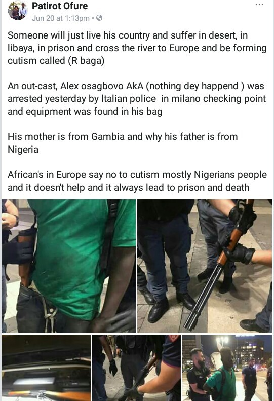 Suspected Nigerian cultist nabbed with firearms in Italy [Photos]