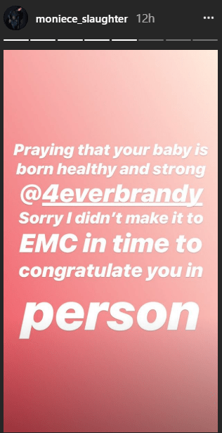 Monice Slaughter seems to confirm that Brandy is expecting a baby