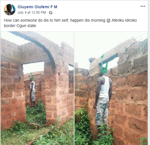 Man commits suicide by hanging himself in an uncompleted building in Ogun State (Graphic Photos)