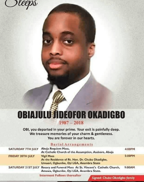 Chuba Okadigbo's son to be buried on Saturday July 21st