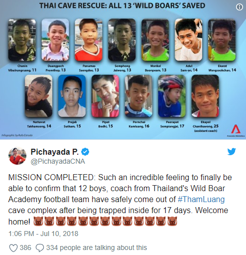 All 12 Thai boys and their coach saved from flooded cave after days of being trapped   All 12 Thai boys and their coach saved from flooded cave after days of being trapped 5b44aab00e684