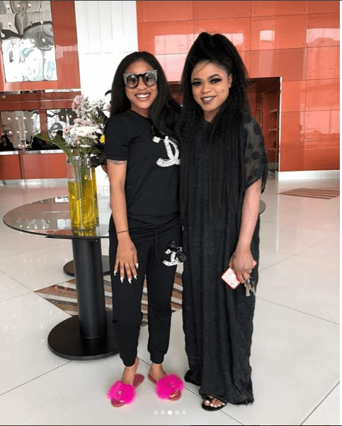 Tonto Dikeh declares her love for Bobrisky as they step out in black coordinating ensembles (Photos)