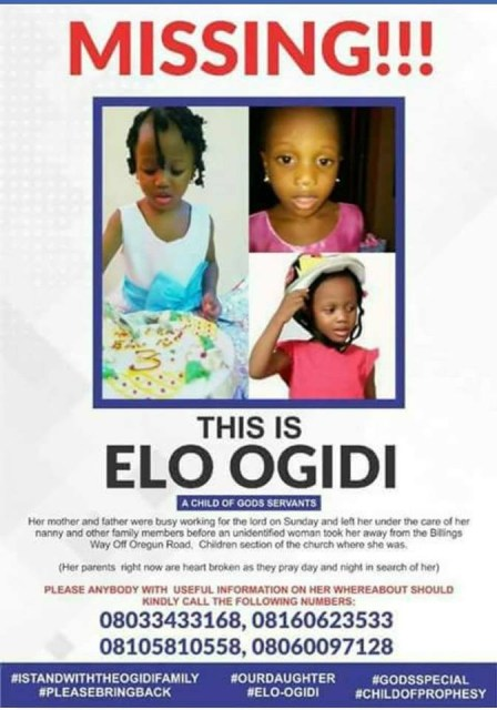 Fraudsters posing as kidnappers attempt to swindle parents of 4 year old girl abducted at Christ Embassy church in Lagos