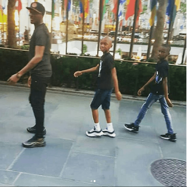 Tuface strikes a pose with his look-alike sons as they step out together in New York (Photos)
