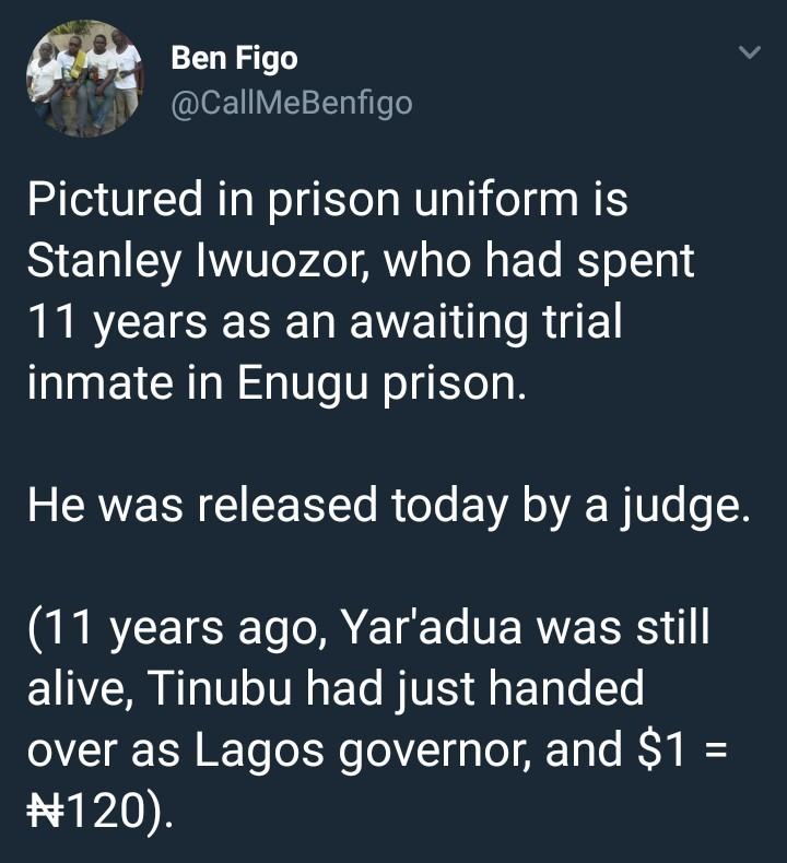 Enugu Prison inmate released after spending 11 years awaiting trial