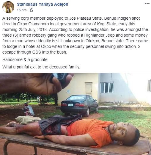 Corps member shot dead by police over his alleged involvement in robbery
