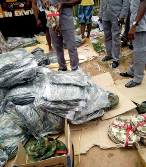 Photos: Nigerian customs intercepts smuggled military uniforms and other equipment?in Owerri