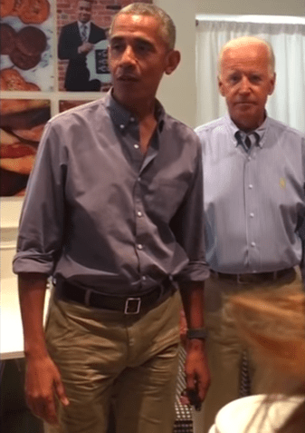 Barack Obama and Joe Biden caused a stir when they went for lunch at a Washington DC bakery (videos)