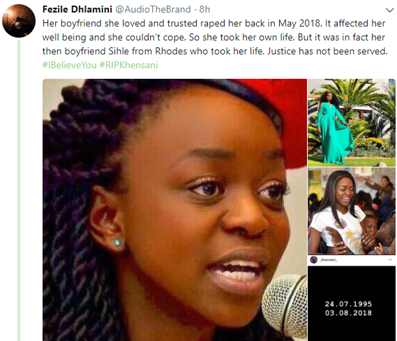 South African lady who was raped by her boyfriend, commits suicide