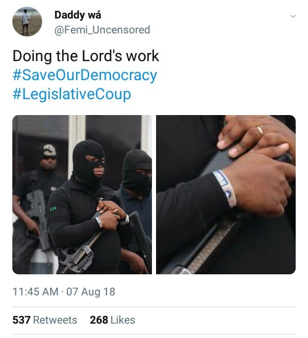 One of the masked DSS operatives from yesterday was seen wearing RCCG wrist band...