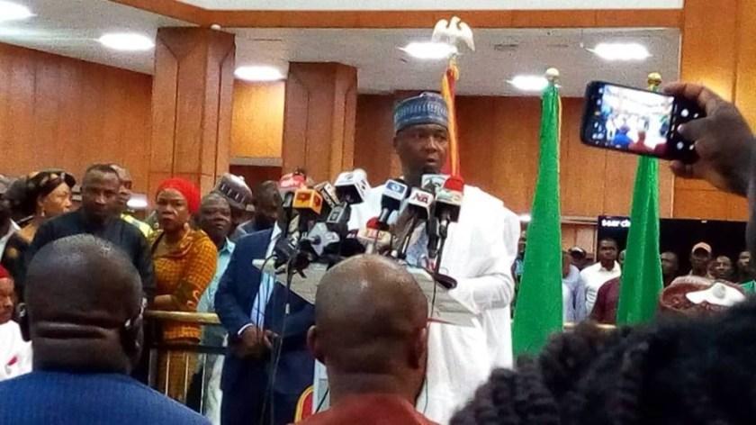Saraki hosts world press conference, commends Osinbajo for dismissing DSS DG