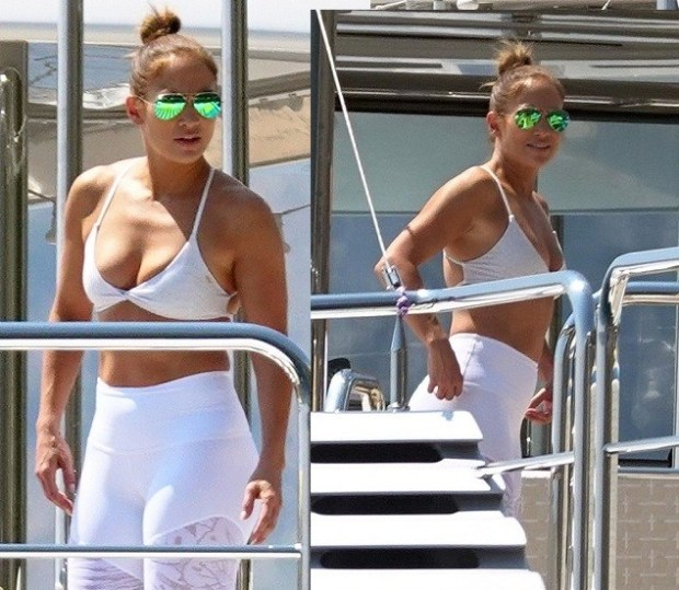 Jennifer Lopez flaunts her flawless figure during a sweaty workout with beau Alex Rodriguez on board luxury yacht in Italy ?(Photos)