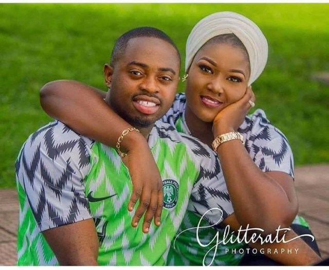 Nigerian couple rock Super Eagles jersey in their beautiful pre-wedding photos