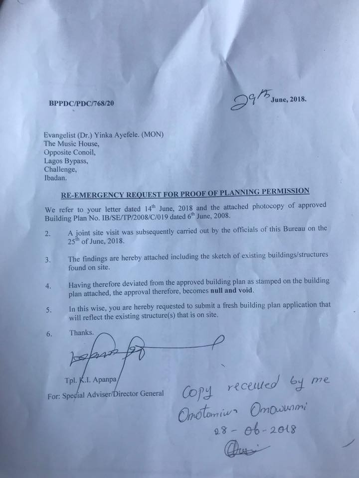 Oyo state government releases statement listing the faults of singer Yinka Ayefele
