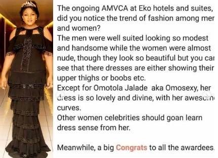 Omotola shares comment of one of her fans pointing out that most of the women that attended #AMVCA2018 dressed almost nude