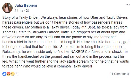 Woman narrates shocking incident her brother who is a Taxify driver had with a passenger