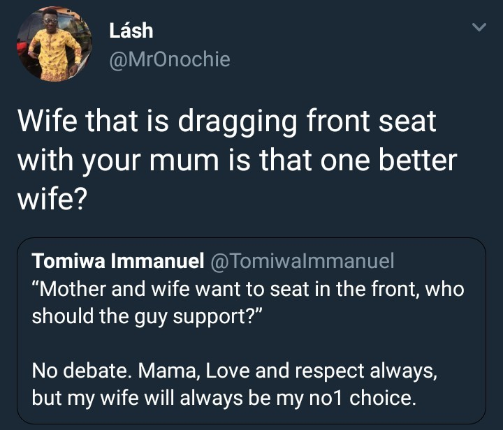 Who will you side with if your wife and mom both want to sit in the front seat of your car