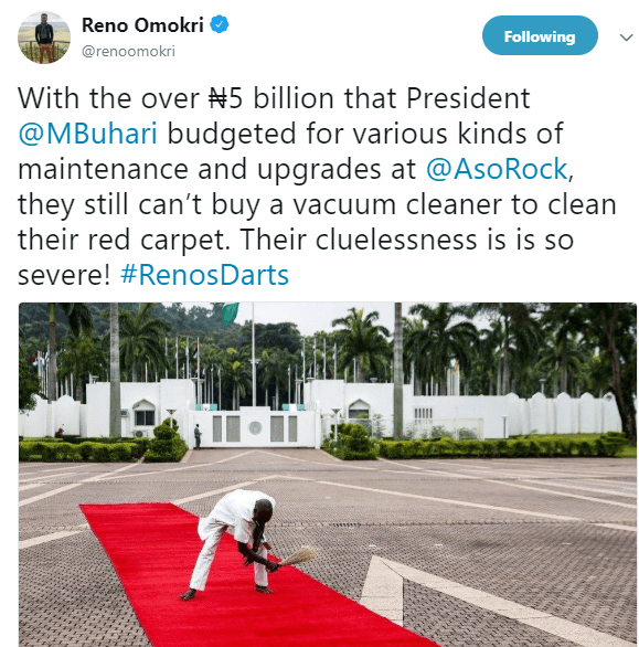 Reno Omokri trolls Presidency after photo of a man using a broom to sweep the presidential red carpet surfaces online