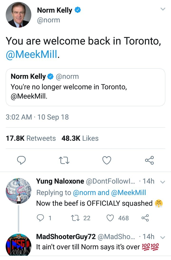 """Toronto politician Norm Kelly lifts """"ban"""" placed on Meek Mill after rapper ends feud with Drake"""