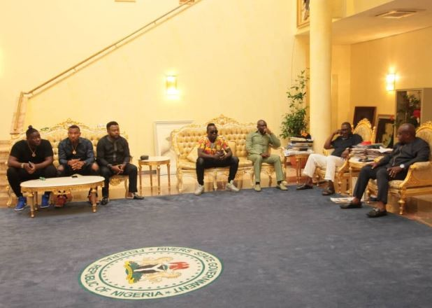 Photos: Rivers State governor, Nyesom Wike hosts Dbanj at the state house