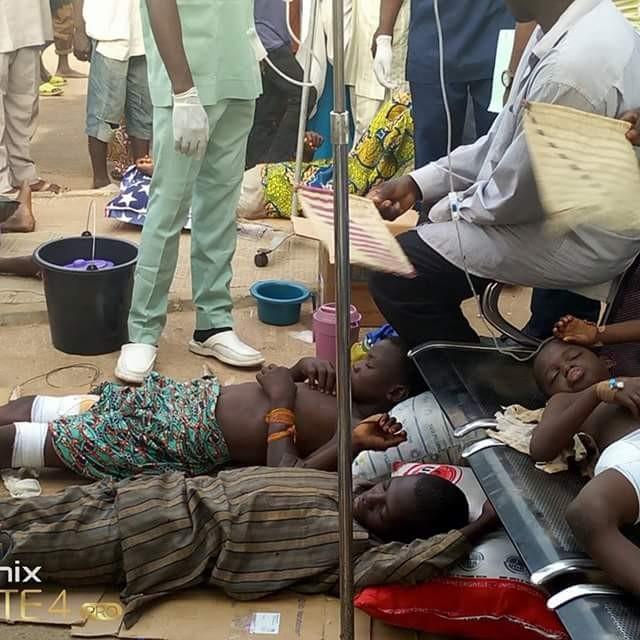 Photo: Children injured in Zamfara attack on floor at Specialist hospital Gusau