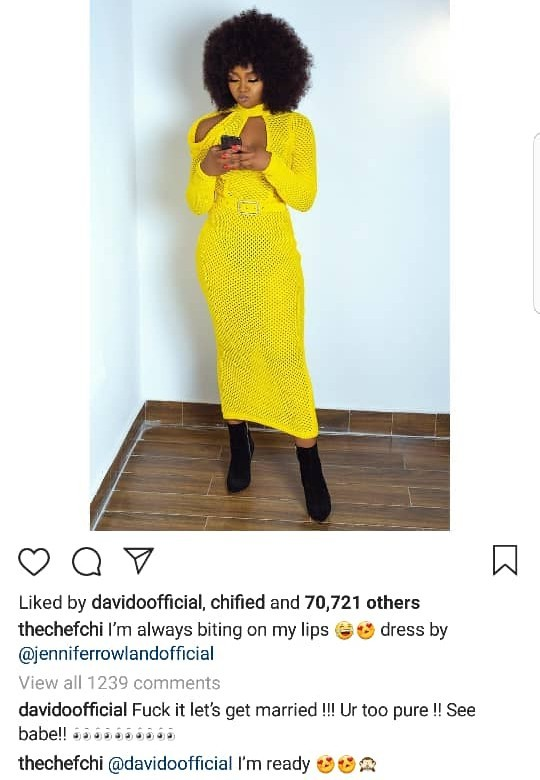 Davido proposes to Chioma on social media and she responds
