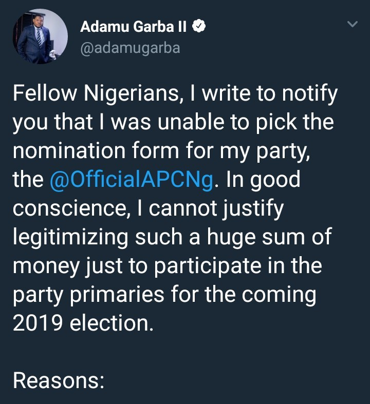 Young APC presidential aspirant drops out of race saying high cost of nomination forms was intended to frustrate young party members