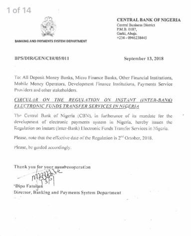 CBN says banks will pay N10,000 fine for any failed instant payment transaction not reversed into the customer?s account within 24 hours