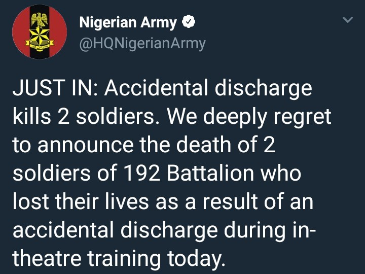 Accidental discharge kills two Nigerian army soldiers