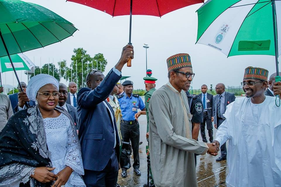 Photos: President Buhari and wife, Aisha, depart Nigeria for the 73rd session of United Nations General Assembly in New York