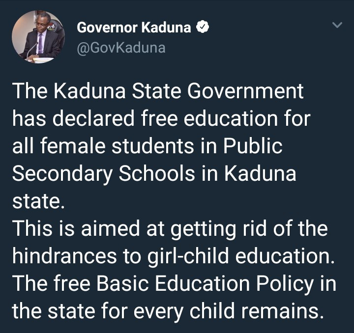 El Rufai declares free secondary education for girls in Kaduna state