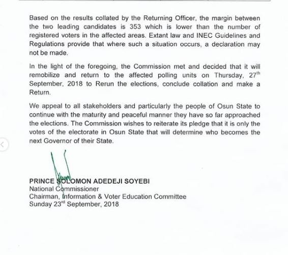 Full Statement: INEC declares Thursday 27th as date for Osun governorship election re-run