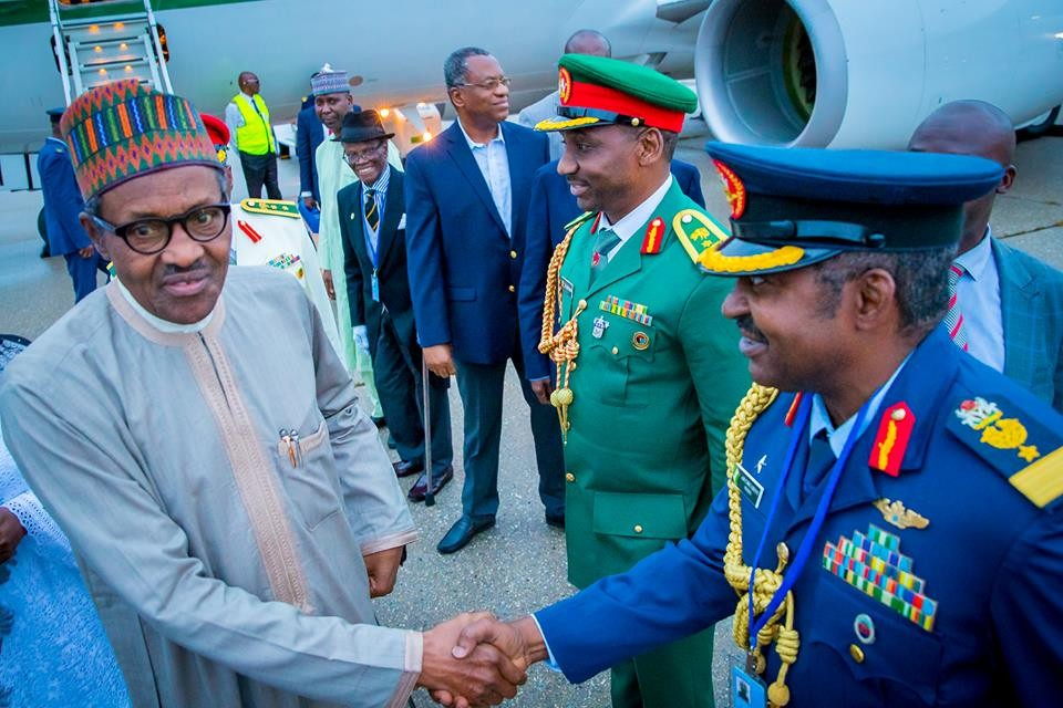 President Buhari and his wife, Aisha arrive?New York for?the 73rd Session of the UN General Assembly (Photos)