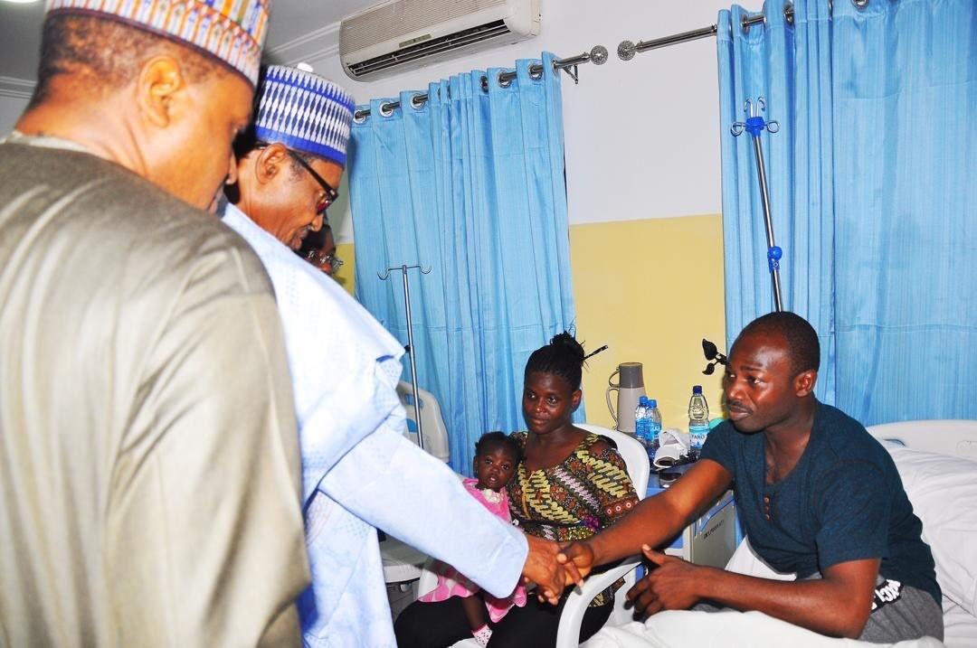 President Buhari visits survivors of the Nigeria Air Force crash (photos)
