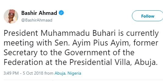 President Buhari holds closed door meeting with?former Senate president,?Pius Anyim