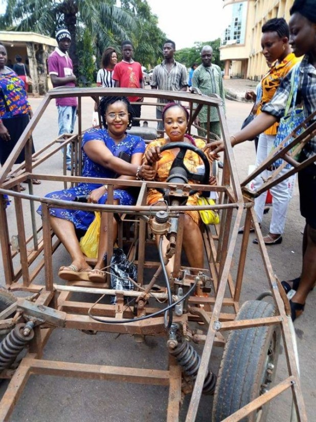 Young man thrills pretty ladies with his locally made car in Enugu (photos)