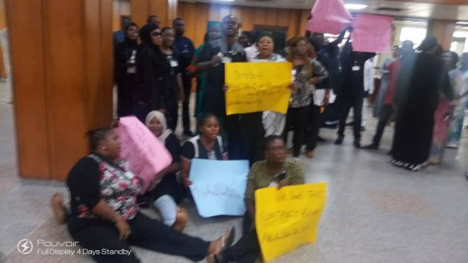 Legislative aides to Senators, House of Reps members stage protest over non-payment of their salaries since inception of 8th senate(photos)